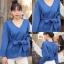 เสื้อผ้าเกาหลีพร้อมส่ง Knit Top เสื้อไหมพรมแขนยาว ทรงคอวี thumbnail 9
