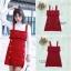 ชุดเดรสเกาหลีพร้อมส่ง Dress สีแดง ไหมพรมผ้าหนา thumbnail 4