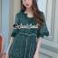 เสื้อผ้าเกาหลีพร้อมส่ง Whiffle Rim Lace Murky Color Playsuit thumbnail 4