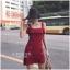 ชุดเดรสเกาหลีพร้อมส่ง Dress สีแดง ไหมพรมผ้าหนา thumbnail 2