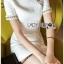 เสื้อผ้าเกาหลีพร้อมส่ง ค็อกเทลเดรสผ้าคอตตอนทวีตสีขาวตกแต่งมุก thumbnail 1