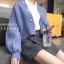เสื้อผ้าเกาหลีพร้อมส่ง เสื้อคลุมไหมพรมแต่งกระดุมมุข thumbnail 1