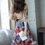 เสื้อผ้าแฟชั่นเกาหลีพร้อม่ส่ง Fashionally Denim-Chiffon Printed Skirt Set thumbnail 4