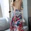 เสื้อผ้าแฟชั่นเกาหลีพร้อม่ส่ง Fashionally Denim-Chiffon Printed Skirt Set thumbnail 3