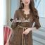 เสื้อผ้าเกาหลีพร้อมส่ง Whiffle Rim Lace Murky Color Playsuit thumbnail 3