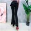 เสื้อผ้าเกาหลีพร้อมส่ง กางเกงขานบานสีดำ (Black) ผ้าโพลีเนื้อทิ้งตัวดูแพง thumbnail 3