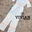 เสื้อผ้าแฟชั่นเกาหลีพร้อมส่ง จั๊มสูทขายาวสีฟ้าพิมพ์ลายดอกไม้สีขาวสดใส thumbnail 3