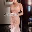 ชดเดรสเกาหลีพร้อมส่ง Princess Lace Vee Flora Print Dress thumbnail 2