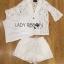 เสื้อผ้าเกาหลี พร้อมส่งเซ็ตสูทและกางเกงผ้าลูกไม้พร้อมสายเดี่ยวสีขาว thumbnail 13