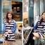 ชุดเดรสเกาหลี พร้อมส่ง Cute Mickey strip attractive Denim Dress thumbnail 6