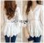 เสื้อผ้าเกาหลีพร้อมส่ง เสื้อยาวผ้าคอตตอนสีขาวตกแต่งลูกไม้สไตล์วินเทจ thumbnail 3