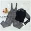 เสื้อผ้าเกาหลีพร้อมส่ง Set 3ชิ้น เอี้ยม+เสื้อซีฟอง+สายเดี่ยวซับใน thumbnail 3