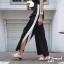 เสื้อผ้าเกาหลีพร้อมส่งกางเกงลินินรุ่นใหม่ แต่งกระดุมด้านข้างทูโทน thumbnail 6