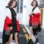 เสื้อผ้าเกาหลีพร้อมส่ง เสื้อคลุมตัวยาวงานไหมพรม cardigan ทอไล่สีขาว แดง ดำ thumbnail 4