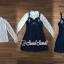 เสื้อผ้าเกาหลีพร้อมส่ง Pinky Flora Stick Cami Denim Dress Set thumbnail 8