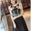 ชุดเดรสเกาหลีพร้อมส่ง เดรสผ้าเครปสีดำปักลายดอกกุหลาบ thumbnail 5