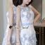 ชุดเดรสเกาหลีพร้อมส่ง Sweet Lace Bule Suquin Dress thumbnail 4