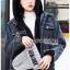 เสื้อผ้าเกาหลีพร้อมส่ง เซ็ตเสื้อแจ็กเก็ตเดนิมทับเสื้อโค้ทตกแต่งฮู้ดขนแกะสีน้ำเงินเข้ม thumbnail 8