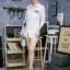 เสื้อผ้าเกาหลีพร้อมส่ง เดรสเชิ้ตแขนยาว กระดุมเรียงสกรีนลาย thumbnail 7
