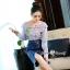 เสื้อผ้าเกาหลีพร้อมส่ง Zara Stripe Shirt With Denim Skirt Set thumbnail 8