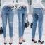 เส้อผ้าเกาหลีพร้อมส่ง กางเกงยีนส์บอย ช่วงขาใหญ่เล็กน้อย thumbnail 1