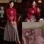 เสื้อผ้าเกาหลีพร้อมส่ง Set เสื้อ+กระโปรง เสื้อทรงสวยคอจีบมีโบตรงคอน่ารัก thumbnail 6