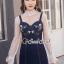 เสื้อผ้าเกาหลีพร้อมส่ง Pinky Flora Stick Cami Denim Dress Set thumbnail 7