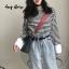 เสื้อผ้าเกาหลีพร้อมส่ง เสื้อคอกลม แขนยาว ลาย Stripe thumbnail 1
