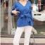 เสื้อผ้าเกาหลีพร้อมส่ง Knit Top เสื้อไหมพรมแขนยาว ทรงคอวี thumbnail 7
