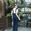 เสื้อผ้าเกาหลีพร้อมส่ง เซทเอี้ยมจั้มสูทผ้ายีนส์ฟอกสีเข้ม thumbnail 4