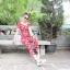 เสื้อผ้าแฟชั่นพร้อมส่ง jumpsuit ลายดอก สีแดงสดใส thumbnail 8