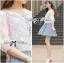 เสื้อผ้าเกาหลี พร้อมส่งเสื้อคลุมผ้าคอตตอนปักลายดอกไม้สไตล์เบสิก thumbnail 7