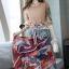 เสื้อผ้าแฟชั่นเกาหลีพร้อม่ส่ง Fashionally Denim-Chiffon Printed Skirt Set thumbnail 5