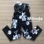 เสื้อผ้าเกาหลีพร้อมส่ง เกาะอกสีดำพอมพ์ลายดอกไม้สีขาว ทรงขาเดฟเข้ารูป thumbnail 12