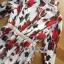 ชุดเดรสเกาหลี พร้อมส่งเดรสผ้าชีฟองพิมพ์ลายดอกกุหลาบสีแดงเนื้อผ้ายับอัดพีท thumbnail 8
