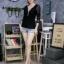 เสื้อผ้าแฟชั่นเกาหลีพร้อมส่ง เสื้อยืดผ้านิ่มแขนยาว ประดับสร้อยเพชรด้านหน้า thumbnail 8