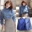 เสื้อผ้าแฟชั่นเกาหลีพร้อมส่ง เสื้อยีนส์แขนยาวผ้านิ่มสวย thumbnail 5