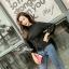 เสื้อผ้าเกาหลีพร้อมส่ง เสื้อไหมพรมแขนยาวดีไซน์แขนให้ดูพองๆน่ารักมากๆ thumbnail 18