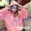 เสื้อผ้าเกาหลีพร้อมส่ง เสื้อกันหนาว oversize มีฮู้ดสีน่าร้าก thumbnail 1