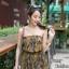 เสื้อผ้าเกาหลีพร้อมส่ง จั๊มสูทเกาะอกขาสั้น เนื้อผ้าพิมพ์ลายสวย thumbnail 5