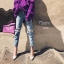 เสื้อผ้าเกาหลีพร้อมส่ง กางเกงยีนส์ทรงสวย แต่งขาดริ้วช่วงขา thumbnail 3