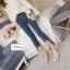 เสื้อผ้าเกาหลีพร้อมส่ง เกงยีนส์เกาหลี ปลายขาเว้าหน้าติดขนเฟอร์สวยฟรุ้งฟริ้ง thumbnail 4
