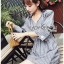 เสื้อผ้าเกาหลีพร้อมส่ง มินิเชิ้ตเดรสผ้าลายทาง thumbnail 3