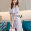 ชุดเดรสเกาหลีพร้อมส่ง เดรสผ้าเครปสีฟ้าอ่อนตกแต่งระบาย thumbnail 2
