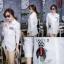 เสื้อผ้าเกาหลีพร้อมส่ง เดรสเชิ้ตแขนยาว กระดุมเรียงสกรีนลาย thumbnail 16