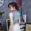 เสื้อผ้าแฟชั่นเกาหลีพร้อมส่ง เสื้อแจคเก็ตยีนส์แขนกุด ดีเทลรีดเพชรโลโก้แบรนด์ดิออร์ thumbnail 5