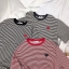 เสื้อผ้าเกาหลีพร้อมส่ง เสื้อแขนสั้นลายทางเย็บหัวใจ thumbnail 5