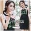 ชุดเดรสเกาหลีพร้อมส่ง เดรสผ้าเครปสีดำปักลายดอกกุหลาบ thumbnail 3
