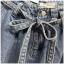 เสื้อผ้าเกาหลีพร้อมส่ง กางเกงผ้ายีนส์ เอวมีเข้มขัดผ้ายีนส์ผูกเอว thumbnail 5