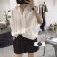 เสื้อผ้าเกาหลีพร้อมส่ง เสื้อเชิ้ต korea style ปลายแขนจั๊ม thumbnail 2